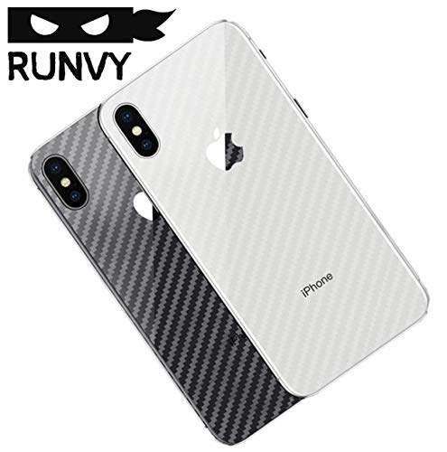 Runvy Back Screen Protector Film Carbon Fiber Skin Finish Ultra Thin Scratch Resistant Safety Protective Film (Transparent) for (iPhone X & Xs)