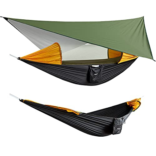 G4Free Large Camping Hammock with Mosquito Net and Rain Fly- 2 Person Portable Hammock with Bug Net and Tent Tarp , Hammock Tent for Outdoor Hiking Camping Backpacking Travel