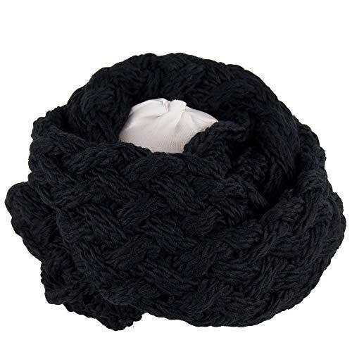 Sciarpa nera ad anello donna scaldacollo x uomo invernale elegante da ragazzo ragazza tubolare con trecce a maglia 2020 2021 per moto cervicale termico caldo invernale di Moda idea regalo per natale