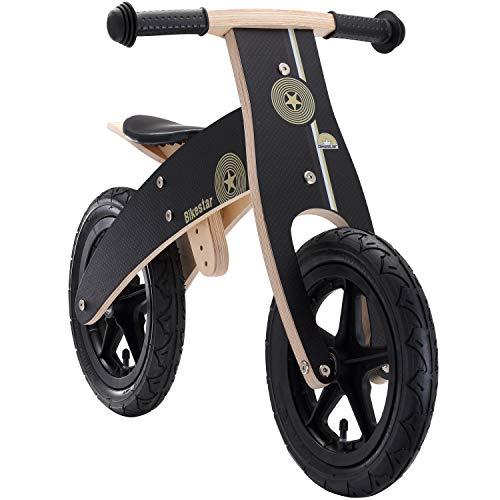 BIKESTAR Kinderlaufrad Lauflernrad Kinderrad für Jungen und Mädchen ab 3-4 Jahre | 12 Zoll Kinder Laufrad Holz | Schwarz | Risikofrei Testen