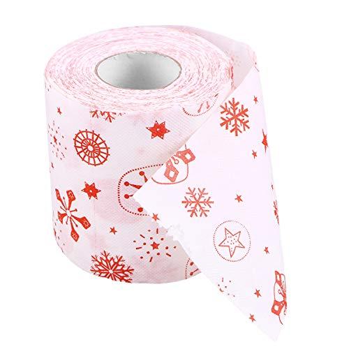 VORCOOL Carta Igienica Natalizia, Stampe Divertente Carta fiori di neve per Soggiorno carta igienica a tema natalizio Rotolo di carta igienica Carta da lettere di Natale Carta igienica