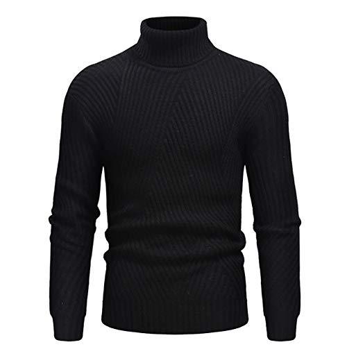 Legogo Herren Verdicken Langärmelige Herbst und Winter Mode Sweatershirt(L,Schwarz)