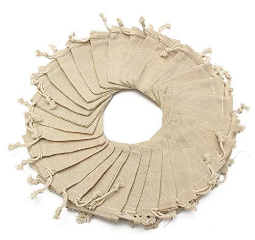 Mayitr 30 Stück Leinen Jute Sack Kordel Tasche Schmuck Beutel 10 x 8 cm