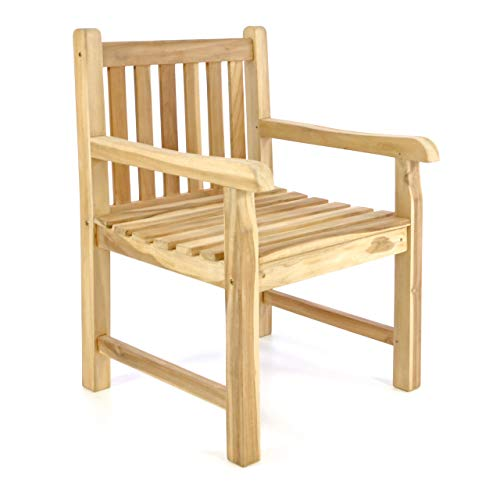 Divero GL05056_AZ Gartenstuhl Gartensessel Landhaus Teak Holz unbehandelt rustikal massiv stilvoll, Braun