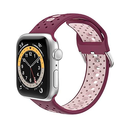 KAEGREEL Correa de Repuesto Compatible con Apple Watch Correa 38 mm 42 mm 40 mm 44 mm, Correa de Silicona para iWatch Series 6/5/4/3/2/1,42mm/44mm