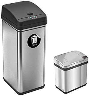 """iTouchless 13 Gallon and 2.5 Gallon Automatic Touchless Sensor Kitchen Cans with Odor Control System, Stainless Steel, Includes 1 Waterproof Reusable """"Trash"""" Vinyl Sticker (B01JS8GL2U) 