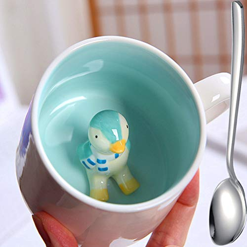 Penguin Ceramic Coffee Mug - Father's Day, Mother's Day Gifts, Cute Penguin Inside Coffee Cup - 3D Cute Animal Milk Cup as Surprise Animals Figurine Teacup, 350ml…