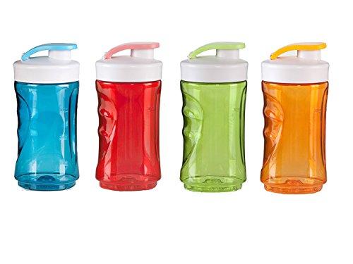 DOMO 4-delige set reserveflessen voor smoothie maker, 300ml, blauw + rood + groen + oranje; DO481BL-BK-4er