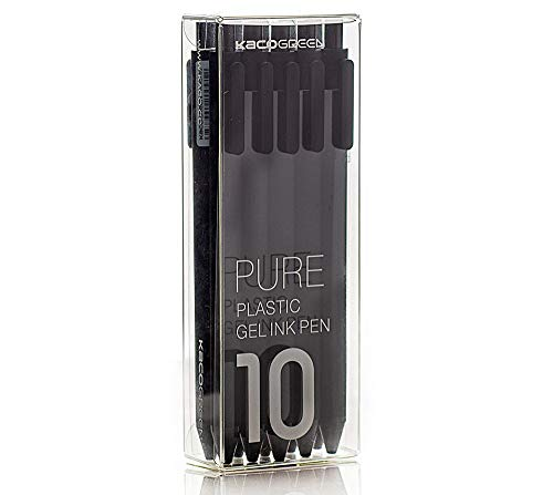 KACO Soft Touch einziehbare Gelschreiber Schriftzug-Stiftsatz (Schwarze Farbe 10er Pack schwarze Tinte, 0,5 mm)