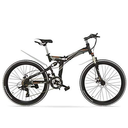 TYT Bicicleta de Montaña Eléctrica K660M Bicicleta Plegable de 24 Pulgadas Mtb, Bicicleta Plegable de 21 Velocidades, Horquilla con Cerradura, Frente Y Amplificador; Suspensión Trasera, Freno de Disc