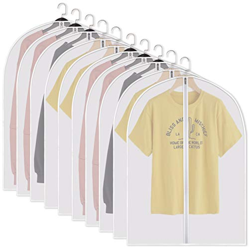 Adalite Moth Proof Garment Bags-Garment Cover 10 Pack Clear Garment Bags Hanging Garment Bag PEVA Garment Bag for Storage Travel Breathable Dust Proof and Waterproof Garment Covers 24x32 ins