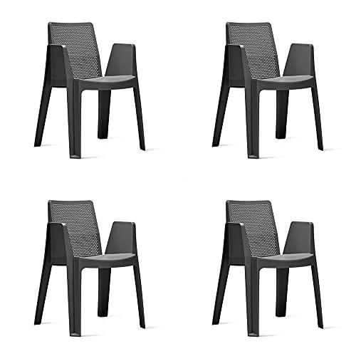 RESOL Play Set 4 Sillas de Jardín Apilables con Reposabrazos y Respaldo Ventilado   Terraza, Patio, Balcón, Comedor Exterior   Ligera y Resistente   Diseño Moderno - Color Gris Oscuro