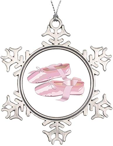 PotteLove Personalized Christmas Tree Decoration Pink Ballet Shoes Slippers Ballet Slippers Drawing Make Your Own Christmas Snowflake Ornament
