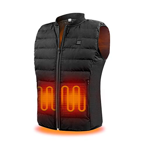 SUKEER Heated Vest Size Adjustable Electric Warm Vest for Hiking without battery(round neck-Black, Medium)