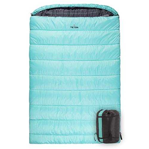Flannel Lining Double Sleeping Bag for Backpacking with Compression Sack for Easy Transport