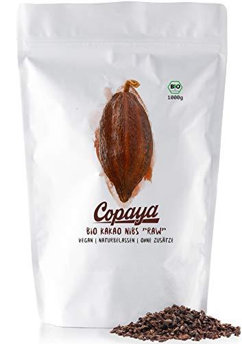 Copaya Bio Kakao Nibs Roh ohne Zusätze, Kakaonibs aus Peruanischen Kakaobohnen, Kontrollierte Premium Bohnen ohne Zucker, Ungeröstet & Ungesüßt, Vorratspackung 1000g (1kg)