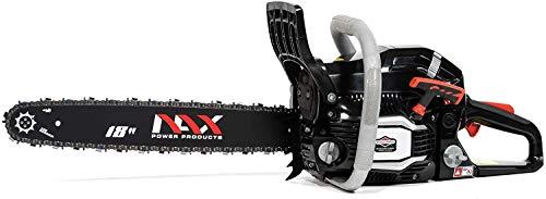 NAX POWER PRODUCTS 400C motor 51,5 cm3 1,8 kW Briggs & Stratton producto con licencia guía 18' 45 cm sistema antirebote Low Kickback motosierra a gasolina motosierra de cadena, Negro, nax400c 18