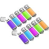 KOOTION USBメモリ 1G 10個セット USB2.0 二年間保証 マイクロUSB キャップ式 フラッシュドメモリ ストラップホール付き ラッシュドライブ(1GB)(五色:青、紫、緑、赤、オレンジ)
