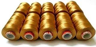 GOELX Silk Thread Desert Gold, Shiny 10 Spools for Embroidery/Bangle-Jhumka-Jewellery Making, Handicrafts