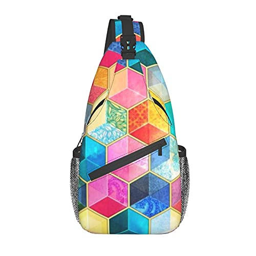 Unisex Sling Bag Daypack Bolsa de hombro Mochila Crossbody Paquete Crystal Bohemio Panal Cubo colorido hexágono para Viajes Senderismo Gimnasio al aire libre Uso diario