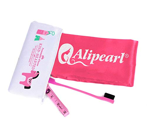 Ali Pearl Silky Edge Styling Scarf Frontal Headband & Edge Brush for Baby Hair & Soft Tape Measure & Cute Makeup Bag Set to Make Perfect Edges (Red Gift Bag)