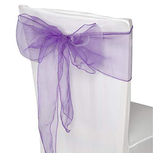 Trimming Shop Paars Organza Sashes Stoel Cover Verschillende Kleur Fuller Bow Lint voor bruiloft, Banket, Verjaardag, Event Decoratie, 17cm x 280cm, 50pcs