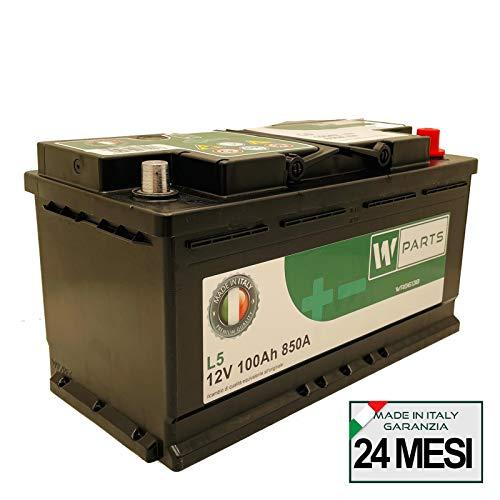W-Parts Batteria Auto 100 Ah - 850A Spunto   Garanzia Italia   353x175x190   100Ah  