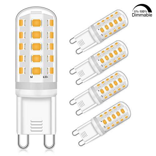 G9 LED Dimmbar Leuchtmittel 5W Ersatz für 40W 50W Halogenlampe - Warmweiß 2700K Led glühbirnen - G9 Sockel Led Birne Lampe, 400LM,AC 220-240V, 4er Pack [Energieklasse A +]