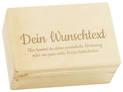 LAUBLUST Große Holzkiste - Personalisiert mit Individueller Wunsch-Gravur - 30x20x14cm, Natur, FSC® - Geschenk-Kiste | Aufbewahrungskiste | Erinnerungs-Box