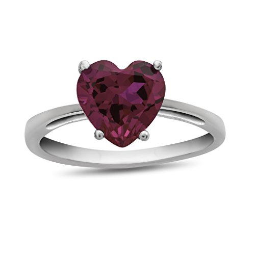 Finejewelers 10k White Gold 7mm Solitaire Heart Shaped Created Ruby Ring Size 7