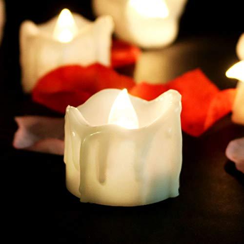 Paquete de 12 velas falsas realistas sin llama con temporizador, parpadeante, funciona con pilas, mini velas LED de 1.4 pulgadas para...