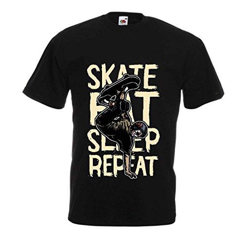 Männer T-Shirt Eat-Sleep-Skate-Repeat Fro Skateboard Liebhaber, Skateboarder Geschenke, Skateboarden Kleidung (Large Schwarz Mehrfarben)
