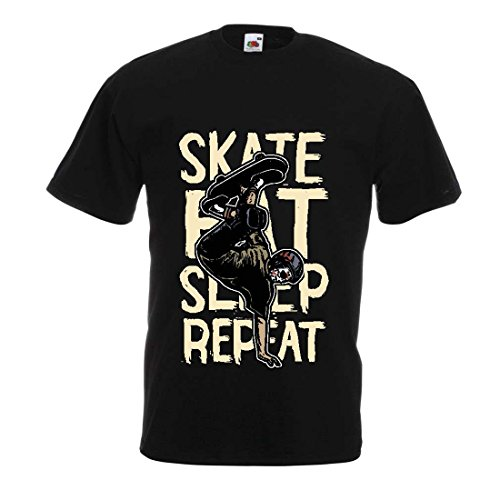 lepni.me Camisetas Hombre Eat-Sleep-Skate-Repeat para el Ama