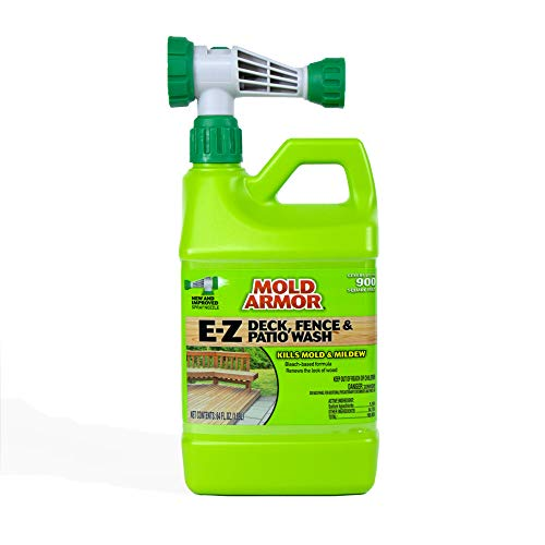 MOLD ARMOR E-Z Deck, Fence and Patio Wash with Hose-End Adaptor - Wood and Composite Deck Cleaner – 64 oz