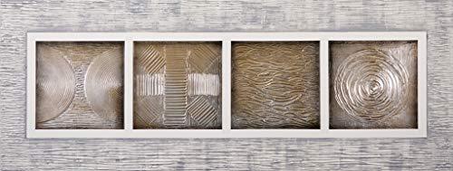 Cuadro Pintado Mandalas 130x50 cm, con Reflejos Dorados y Plata y Marco Relieve Pintado sobre el Lienzo 100% Original