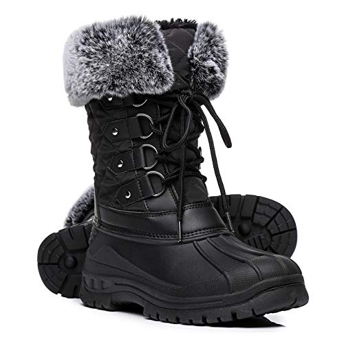 Faivykyd Women's Faux Fur Duck Snow Boots, Insulated Waterproof Winter Boots for Women, Lace Up Mid-Calf Boots for Outdoor Black Size 9