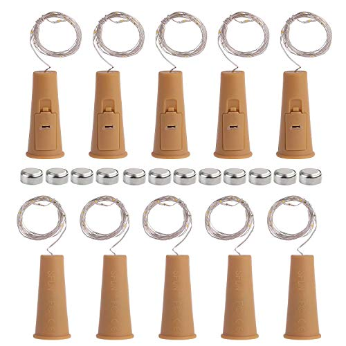 SFUN Wine Bottle Lights with Cork- 5 Dimmable Modes with Timer 10 Pack -12 Replacement Battery Operated LED Silver Wire Fairy String Lights for DIY, Party, Decor,Christmas, Halloween?Wedding
