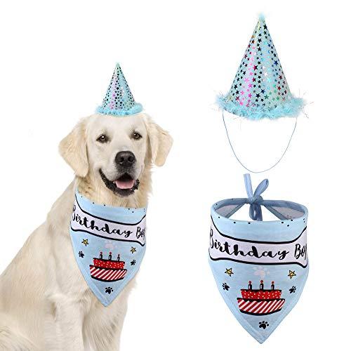 Hey Shop Happy Birthday für Hunde, Katzen, Haustiere, Kopftuch, Halstuch, Schals, und niedliche Mützen für Jungen Herren Quadrate Soft Dreieck Kostüm Schals Hunde Geburtstag Party (Rosa, Blau)