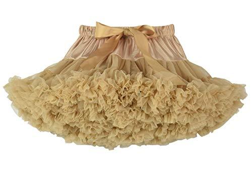 Happy cherry - Vestido de Tutú de Fiesta para Niñas Falda Corta de Tul Suave con Volantes para Danza de Ballet para Princesa Cosplay Partido para Bebés Niña de 3-4 Años - Caqui