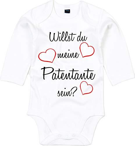 Mister Merchandise Baby Body Willst du meine Patentante sein? Pate Patenschaft Taufe Weiß - Langarm, 0-3