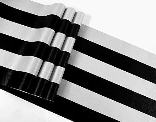ACCEY Papel pintado de rayas verticales moderno estilo industrial blanco y negro gris plata nórdico moda TV fondo pared@HD-6-3_5.3㎡