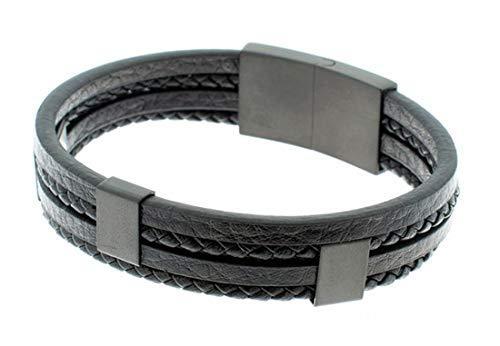 Pulsera SSK STYLE de Cuero stainless steel Premium para Hombre en Negro | Cierre de seguridad Magnético de Acero Inoxidable Gran Idea de Regalo | Modelo Urban Negra