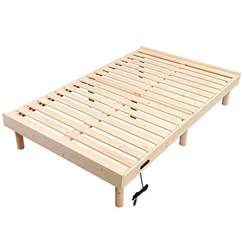 WLIVE すのこベッド 100%天然木 ベッドフレーム ダブルベッド コンセント付き 木製ベッド 高さ3WAY調節 脚付き 耐久性 通気性 頑丈 北欧パイン セミダブル ACH604YS