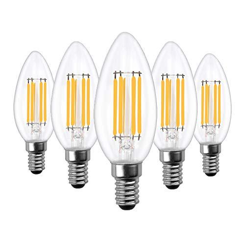 Doright 5 pezzi E14 Lampadina a LED 6W Dimmerabile a Filamento Luce Bianco Freddo 6000k Lampada a Candela Vintage Piccola Lampadina a Vite Edison Lampadine 40W Lampadine Alogene Equivalenti
