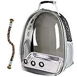 SOURCER Mochila portador de pájaros, mochila de viaje con bandeja de acero inoxidable y percha de pie