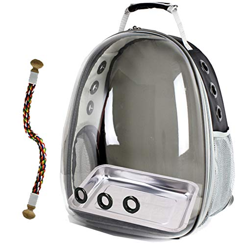 Bird Carrier, Space Capsule Bubble Bird Travel Backpack with Stainless Steel Tray and Standing Perch (Black)