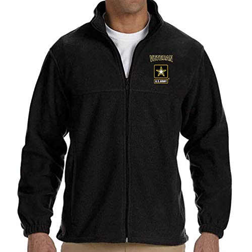 VetFriends.com US Army Veteran Logo Embroidered Fleece Jacket Warm Zip Up (Black, XXX-Large)