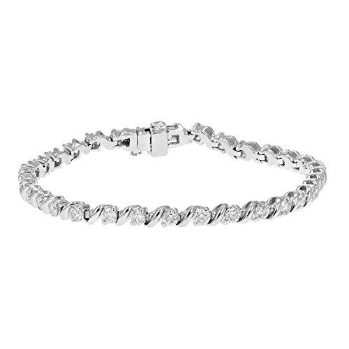 3 cttw Certified SI1-SI2 Diamond Bracelet 14K White Gold J-K S-Link Round
