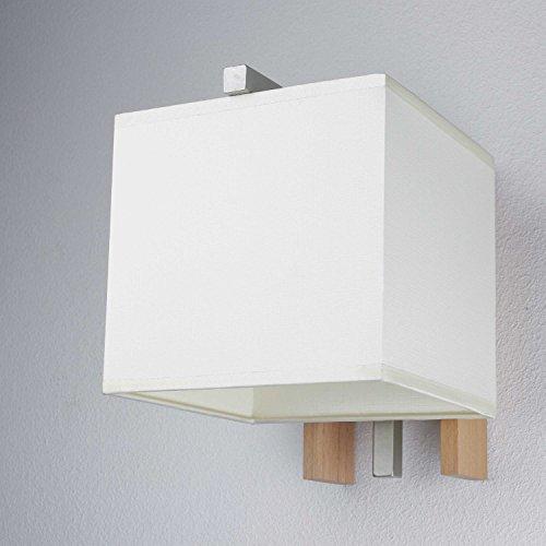Elegante Wandleuchte in Buche Beige Bauhausstil 1x E27 bis zu 60 Watt 230V aus gewebten Stoff &...