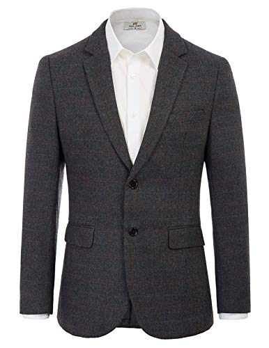 Men's Herringbone Tweed Blazer British Wool Blend Sport Coat Jacket S Dark Grey